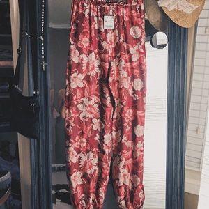 Zara | Pink Red Floral Print Satin Flowy Joggers